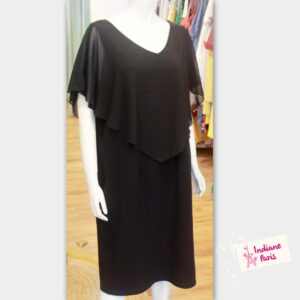 robe noire pancho - robe courte